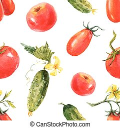 Watercolor tomato and cucumber pattern