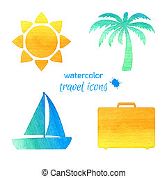 Watercolor travel icons