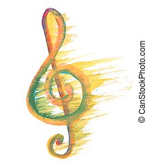 watercolor treble clef g on white
