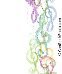 watercolor treble clefs g on white - background border with...