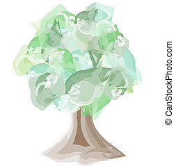 Watercolor tree with a wide trunk