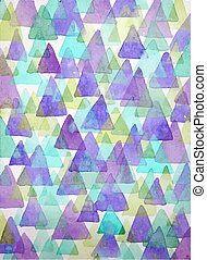 Watercolor triangles background. Tr