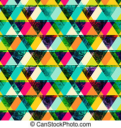 Watercolor triangles seamless pattern. Modern hipster seamless pattern. Colorful texture in hipster style. Geometry template. Grunge pattern. Retro triangle background. Bright pattern.