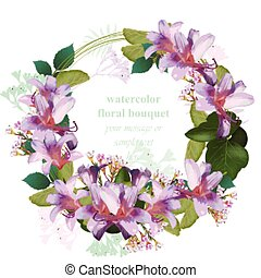 Watercolor tropic floral beauty wreath card. Vector Vintage round cirlce frame tropical flower
