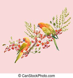 Watercolor tropical parrots vector composition