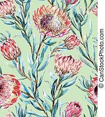 Watercolor tropical protea pattern - Beautiful vector...