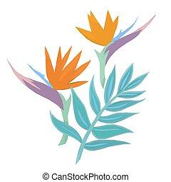 Watercolor tropical vector composition
