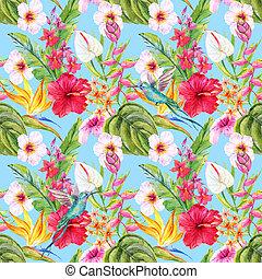 watercolor, tropische , floral model