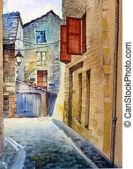 watercolor, van, de, oud, straat
