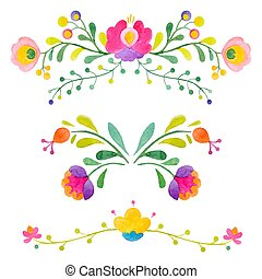 Watercolor vector abstract flowers