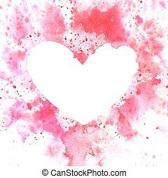 Watercolor vector background with heart with place for text.