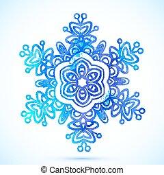 Watercolor vector blue snowflake