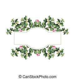 Watercolor vector Christmas floral banner. Hand painted floral garland with snowberry isolated on white background