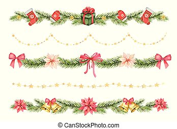Watercolor vector Christmas set of borders of spruce green ...