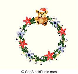 watercolor vector Christmas wreath