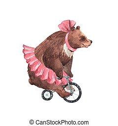 Watercolor vector circus bear