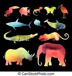 watercolor vector different animals