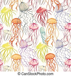 Watercolor vector jellyfish pattern - Beautiful vector...