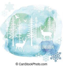 watercolor, vector, kerstmis kaart
