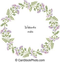 Watercolor vector round frame of Valerian. Healing Herbs for design Natural Cosmetics, aromatherapy, medicine, health products and homeopathy.
