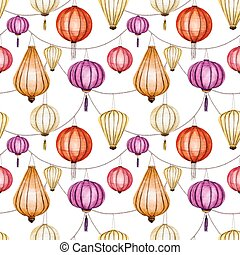 Watercolor vector seamless chinese pattern