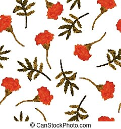 Watercolor, vector, seamless floral pattern with marigolds...