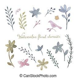 Watercolor vector set