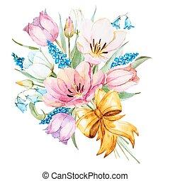 Watercolor vector spring flowers