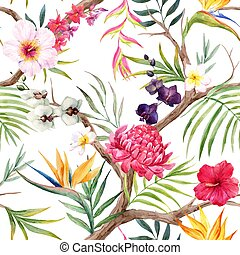 Beautiful vector pattern with hand drawn watercolor tropical flowers and birds