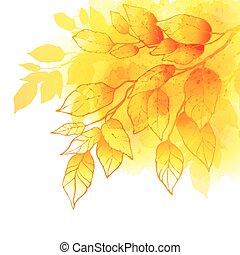 watercolor, vector, vellen, achtergrond, herfst