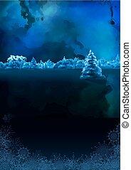 watercolor, vector, winterlandschap, nacht