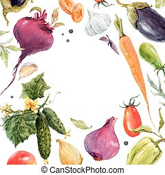 Beautiful vector frame with hand drawn watercolor vegetables
