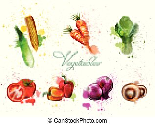 Watercolor vegetables set Vector. Delicious tomatoes, mushrooms and green leaves