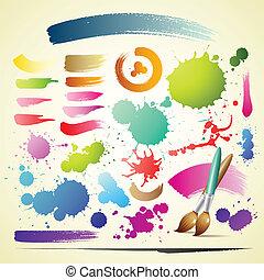 watercolor verf, borstel, kleurrijke