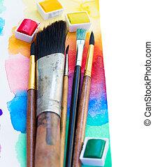 watercolor, verven, borstels, grens