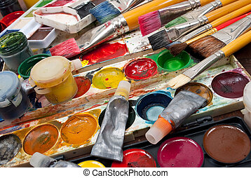 watercolor, verven, borstels, set