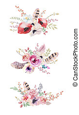 Watercolor vintage floral bouquet. Boho spring flowers and leaf frame isolated on white background: succulent, branches, leaves, feathers, berries, peony, rose. Hand painted natural design