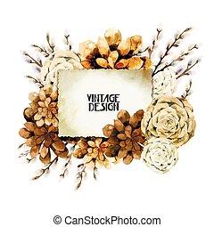 Watercolor vintage floral card