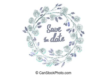 save the date lettering in a frame of watercolor