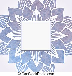 Watercolor violet frame with floral pattern. Vector element...