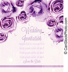 Watercolor violet roses Vector card. Wedding invitation or save the date template. Beautiful backgrounds