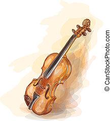 watercolor, violin., style.