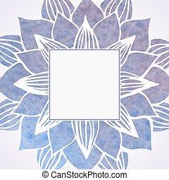 watercolor, viooltje, frame, met, floral, pattern., vector,...
