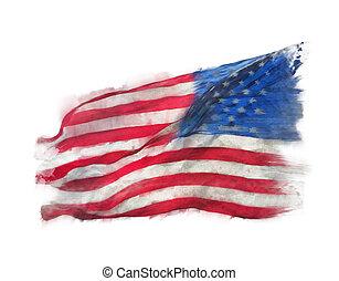 watercolor, vlag, amerika