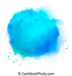 watercolor, vlek, blauwe , handdrawn, colorfull, abstract, illustratie