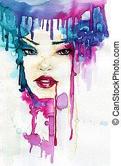 watercolor, vrouw