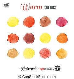 Watercolor warm palette 12 color circles