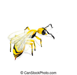Watercolor wasp illustration over white background