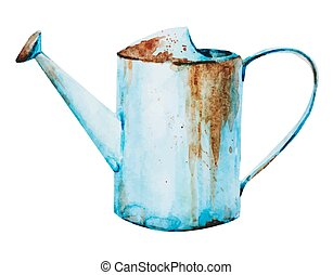 Watercolor watering can - Beautiful vector image with nice...