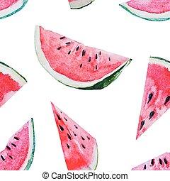Watercolor watermelon melon pattern - Beautiful vector...